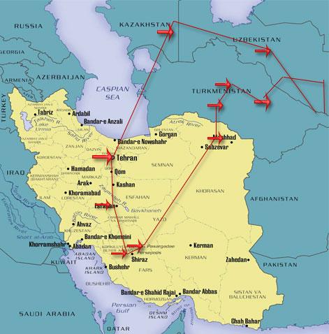 map iran tashkand kirkizistan bukhara almaty
